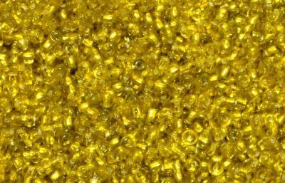 Best.Nr.:15039  Rocailles von Ornella Preciosa Tschechien  gelb mit Silbereinzug