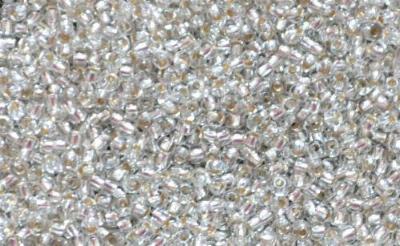Best.Nr.:15040  Rocailles von Ornella Preciosa Tschechien, kristall mit Silbereinzug