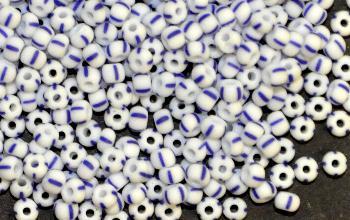 Best.Nr.:13039 Rocailles von Ornella Preciosa Tschechien weiß blau gestreift