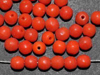 Best.Nr.:63630 Glasperle rund, 1930/40 in Gablonz/Böhmen hergestellt, orangerot