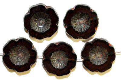 Best.Nr.:671125 Glasperlen / Table Cut Beads  aubergine transp.,  Blüten geschliffen mit picasso finish, hergestellt in Gablonz / Böhmen