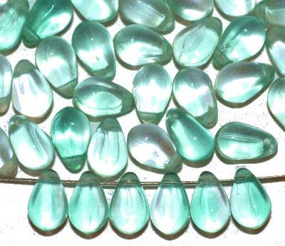Best.Nr.:55009 Glasperlen Tropfen, türkis kristall, hergestellt in Gablonz / Tschechien,