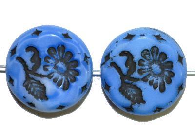 Best.Nr.:59209 vintage style Glasperlen, mit eingeprägter Blüte , nach alten Vorlagen aus den 1930 Jahren in Gablonz/Böhmen neu gefertigt,