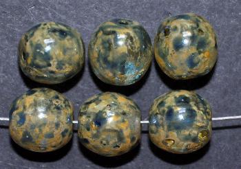 Best.Nr.:22077 Glasperlen mit Wachsüberzug, rund gelb blau