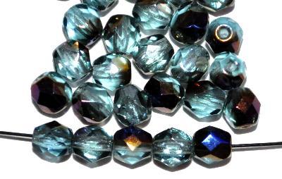 Best.Nr.:28125 facettierte Glasperlen  aqua mit metallic finish, hergestellt in Gablonz / Tschechien