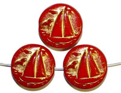 Best.Nr.:59229 Vintagestyle Glasperlen  rot opak mit Goldauflage,  nach alten Vorlagen aus den 1940/50 Jahren neu gefertigt in Gablonz / Tschechien