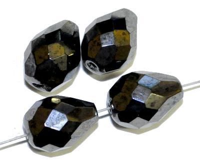 Best.Nr.:28410 Glasperlen Tropfen geschliffen,  schwarz mit lüster,  hergestellt in Gablonz / Tschechien