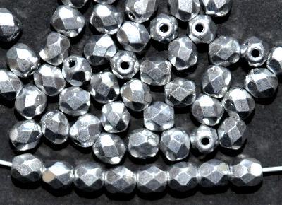 Best.Nr.:28060 facettierte Glasperlen,  silber metallic finish,  hergestellt in Gablonz / Böhmen