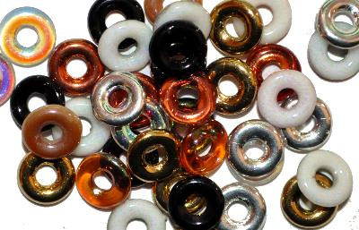 Best.Nr.:0034 Glasperlen Ringe, Spacer, mit metallic Veredelung, Farbmix hergestellt in Gablonz / Tschechien