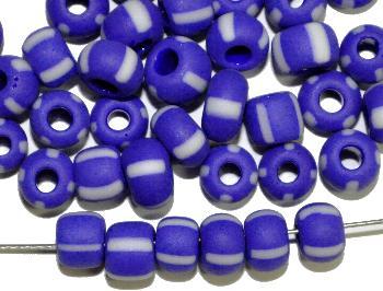 Best.Nr.:13038 Rocailles von Ornella Preciosa Tschechien blau weiß gestreift, mattiert (frostet)