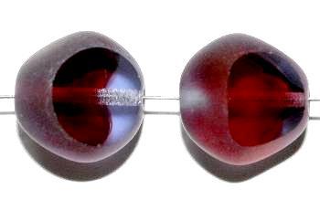 Best.Nr.:67789 Glasperlen / Table Cut Beads geschliffen, aqua fuchsia Rand mattiert, hergestellt in Gablonz / Tschechien