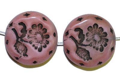 Best.Nr.:59126 vintage style Glasperlen, mit eingeprägter Blüte , nach alten Vorlagen aus den 1930 Jahren in Gablonz/Böhmen neu gefertigt,