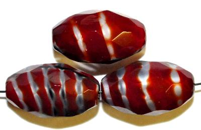 Best.Nr.:26457 Glasperlen geschliffen Oliven rot, hergestellt in Gablonz / Tschechien