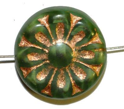 Best.Nr.:59216 vintage style Glasperlen, mit eingeprägter Blütenmandala, grün mit bronze finish  nach alten Vorlagen aus den 1930 Jahren in Gablonz/Böhmen neu gefertigt,