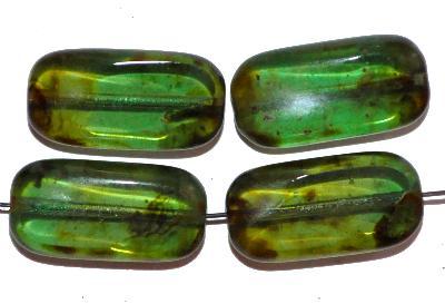 Best.Nr.:671172 Glasperlen / Table Cut Beads grün transp., mit picasso finish