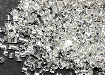 Best.Nr.:41093 Glasperlen / Schnittperlen, von Preciosa Ornella Tschechien hergestellt, kristall mit Silbereinzug