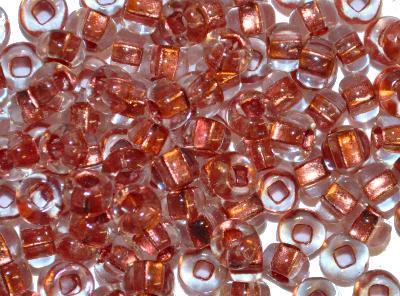 Best.Nr.:11183 Rocailles von Preciosa Tschechien, kristall mit Kupfereinzug, Loch viereckig