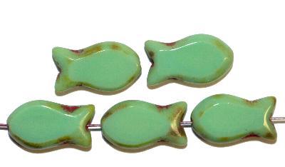 Best.Nr.:67754 Glasperlen geschliffen / Table Cut Beads, Hergestellt in Gablonz / Böhmen, grün mit picasso finish