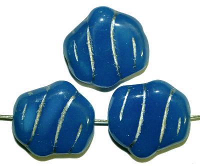 Best.Nr.:59008 Vintagestyle Glasperlen, nach alten Vorlagen aus den 1940/50 Jahren neu gefertigt alabasaterblau mit Silberauflage
