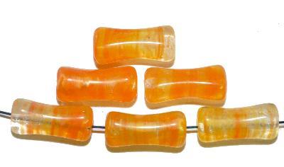 Best.Nr.:48039 Glasperlen  orange meliert, hergestellt in Gablonz / Tschechien