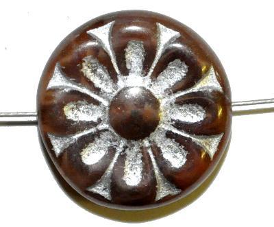 Best.Nr.:59204 vintage style Glasperlen, mit eingeprägter Blütenmandala, braun mit bronze finish  nach alten Vorlagen aus den 1930 Jahren in Gablonz/Böhmen neu gefertigt,