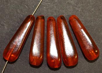 Best.Nr.:63531 Glasperlen Tropfen vierkantig, 1950/60 in Gablonz/Böhmen hergestellt, orange transp.