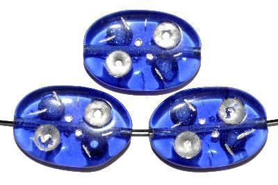 Best.Nr.:s-0027 Glasperlen hergestellt in Gablonz / Tschechien, Olive flach, blau transp. mit Farbauflage (eingebrannt)