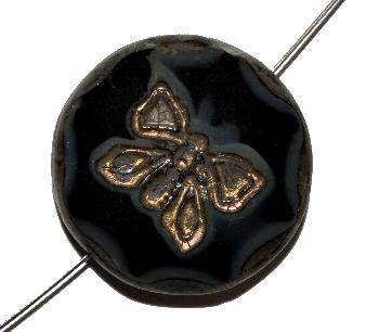 Best.Nr.:671329 Glasperlen / Table Cut Beads, black smoke, mit eingeprägtem Schmetterling, geschliffen mit burning silver picasso finish, geschliffen mit picasso finish
