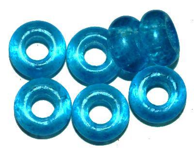 Best.Nr.:52012 Glasperlen mit großem Loch blau, hergestellt in Gablonz / Tschechien