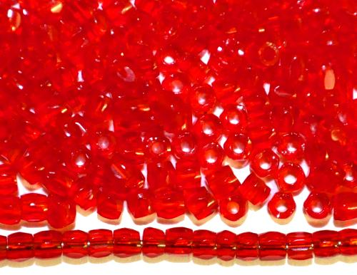 Best.Nr.:18051  3-Cutbeads von Ornella Preciosa Tschechien  rot transp.
