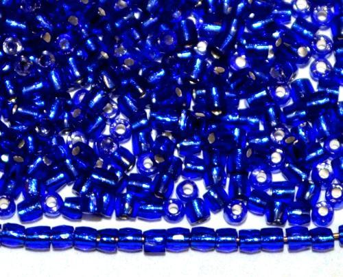 Best.Nr.:18054 3-Cutbeads von Ornella Preciosa Tschechien  dunkelblau mit Silbereinzug