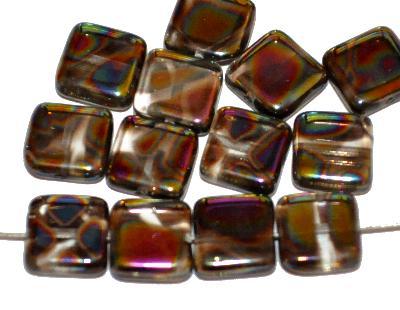 Best.Nr.:46373 Glasperlen Quadrate, kristall, mit metallic Ornament, hergestellt in Gablonz / Tschechien,
