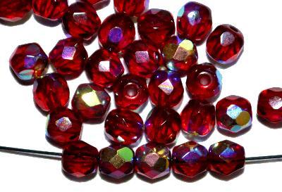 Best.Nr.:28155 facettierte Glasperlen  granatrot mit AB finish, hergestellt in Gablonz / Tschechien