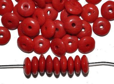 Best.Nr.:63856 Glasperle / Trade Beads, Linsen, 1930/40 in Gablonz/Böhmen hergestellt, rot opak,