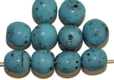 Best.Nr.:63847 Glasperlen rund, in den 1930/40 Jahren in Gablonz/Böhmen hergestellt, türkis (Prosserbeads)