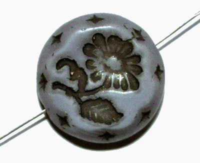 Best.Nr.:59061 vintage style Glasperlen, Perlettglas grau mit eingeprägter Blüte ,  nach alten Vorlagen aus den 1930 Jahren in Gablonz/Böhmen neu gefertigt,