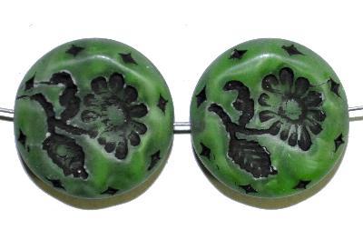 Best.Nr.:59123 vintage style Glasperlen, seidenmatt mit eingeprägter Blüte , nach alten Vorlagen aus den 1930 Jahren in Gablonz/Böhmen neu gefertigt,