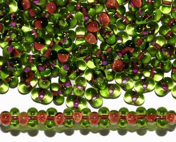 Best.Nr.:00810 Farfalle Rocailles von Preciosa Tschechien grün mit Farbeinzug teracotta
