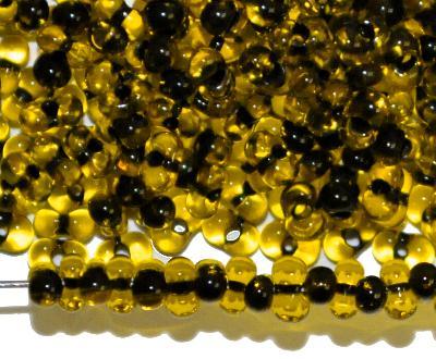 Best.Nr.:00845 Farfalle Rocailles von Preciosa Tschechien gelb mit Farbeinzug anthrazit