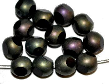 Best.Nr.:28341 Glasperlen schwarz mit metallic finish 3 Seiten geschliffen, hergestellt in Gablonz / Tschechien