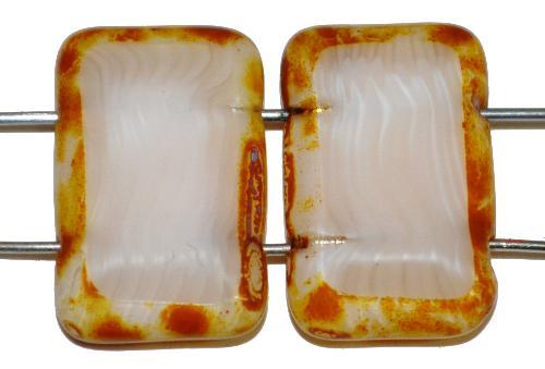 Best.Nr.:67430  Glasperlen / Table Cut Beads geschliffen  mit 2 Löchern  Perlettglas silk mit picasso finish,  hergestellt in Gablonz / Tschechien