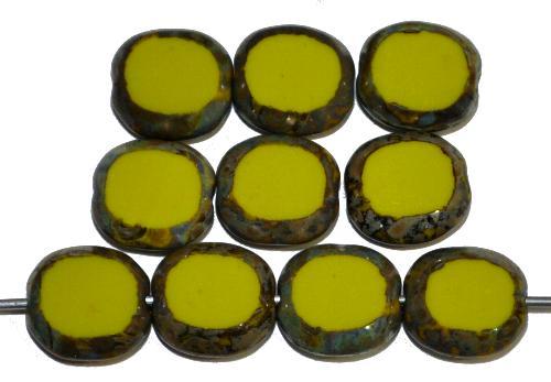 Best.Nr.:65053 Glasperlen / Table Cut Beads geschliffen,  oliv opak mit picasso finish, hergestellt in Gablonz Tschechien