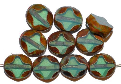 Best.Nr.:671443 Glasperlen / Table Cut Beads  geschliffen, oceangreen opal mit picasso finish,  hergestellt in Gablonz Tschechien