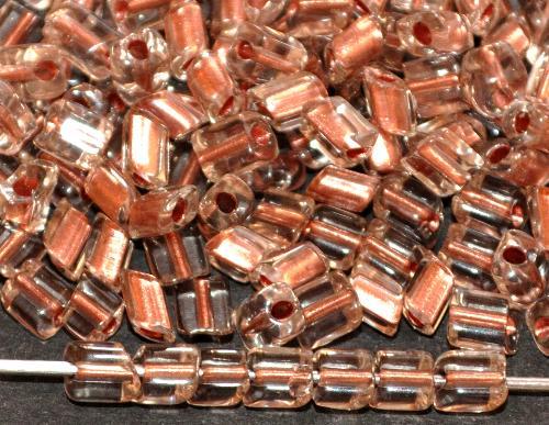 Best.Nr.:19301 Glasperlen / cut pipes von Preciosa Ornella Tschechien, kristall mit Cupfereinzug, Rechteckform abgeschrägten