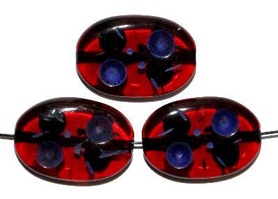 Best.Nr.:s-0035 Glasperlen hergestellt in Gablonz / Tschechien, Olive flach, rot transp. mit Farbauflage (eingebrannt)