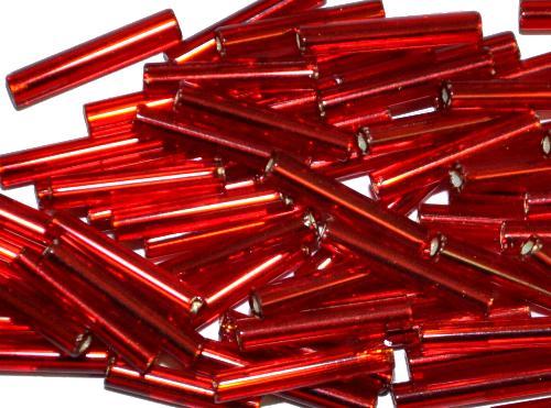 Best.Nr.:21051 Stiftperlen hergestellt von Preciosa Ornella Tschechien,  rot mit Silbereinzug