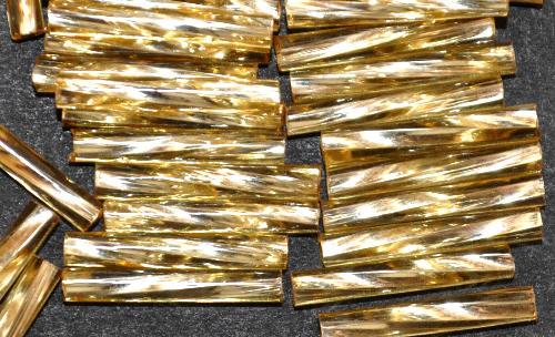 Best.Nr.:21064  Glasperlen / Stiftperlen getwistet light topas mit Silbereinzug, von Preciosa Ornella Tschechien hergestellt