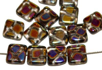 Best.Nr.:46338 Glasperlen Quadrate, kristall, mit metallic Ornament, hergestellt in Gablonz / Tschechien,