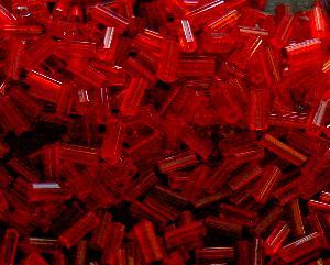 Best.Nr.:21106 Glasperlen / Stiftperlen in den 1940/50 Jahren in Gablonz/Böhmen hergestellt, rot transparent