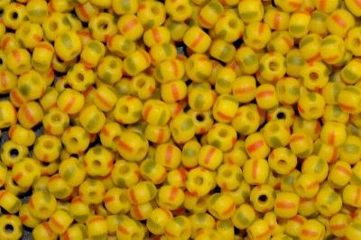 Best.Nr.:14064 Rocailles von Ornella Preciosa Tschechien, gelb rot grün gestreift, mattiert ( frostet )